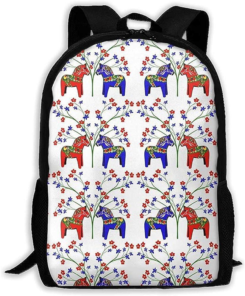 Mochila escolar universitaria, mochila para computadora portátil, mochila ligera para hombros, mochila informal resistente al agua, mochila multiusos para exteriores, caballos florales dala suecos