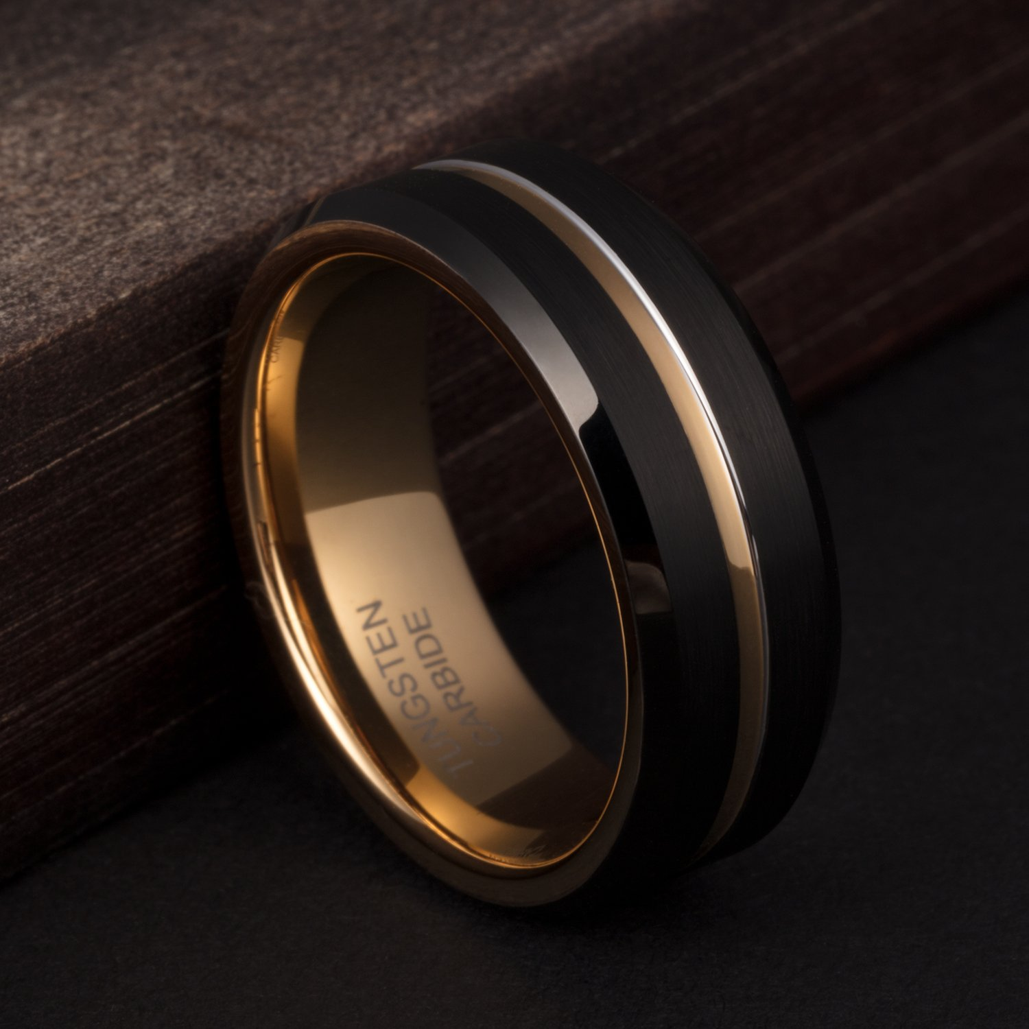 TUSEN JEWELRY 8mm Wedding Band Tungsten Ring 24k Gold Plated Inside and Grooved