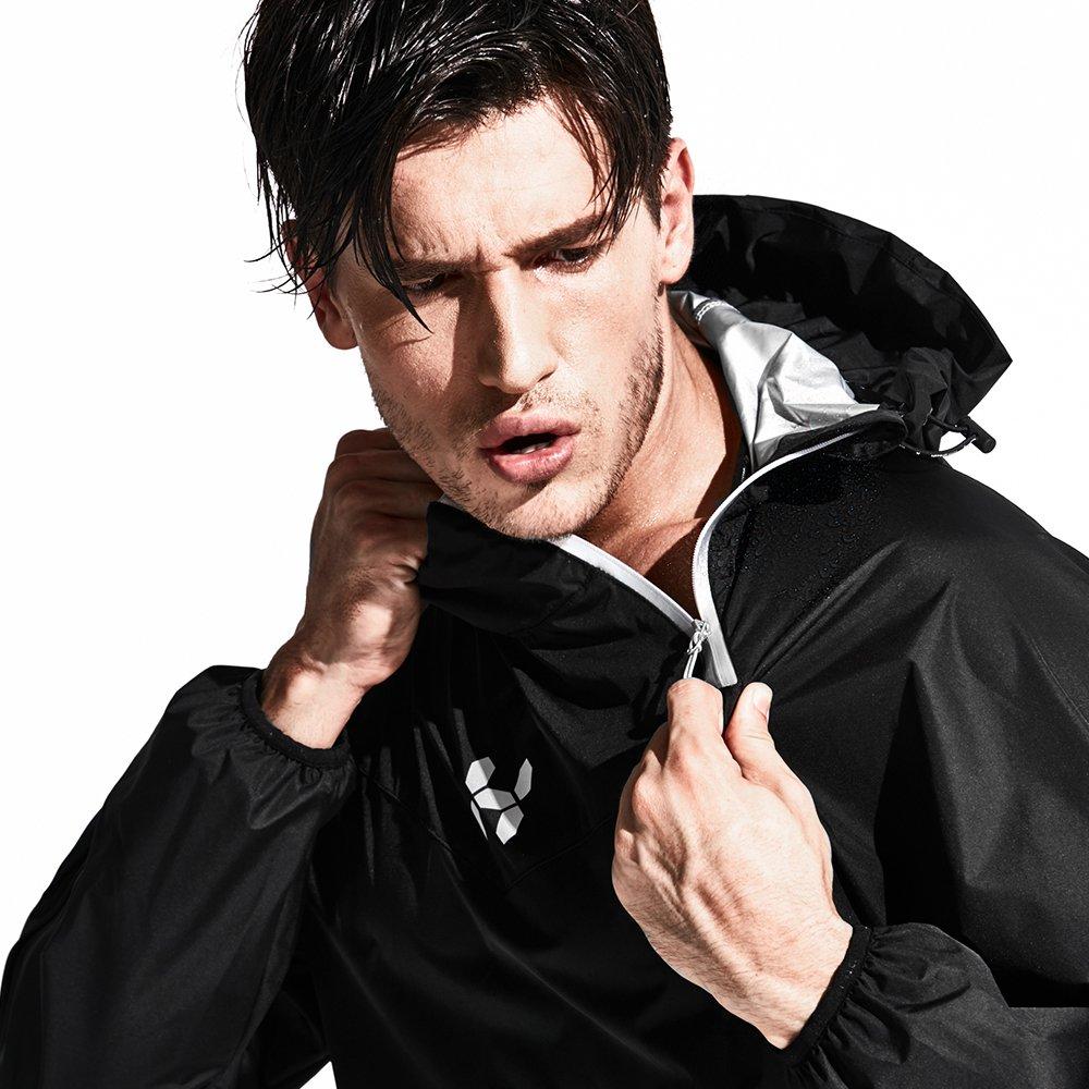 HOTSUIT Men's Sports Suit Running Fitness Sauna Suit (Black, Medium)