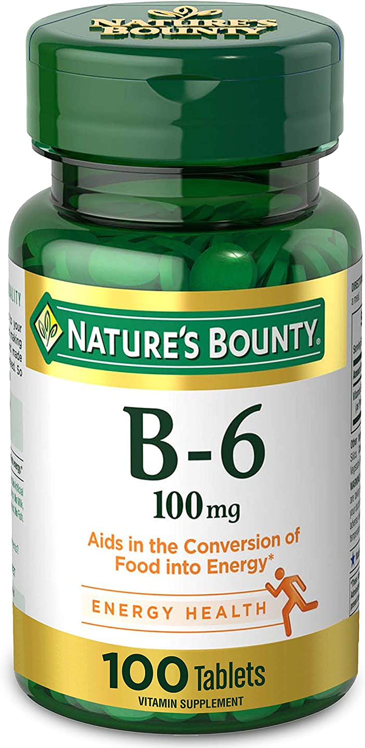 Vitamin B6 by Nature's Bounty, Vitamin Supplement, Supports Energy Metabolism and Nervous System Health, 100mg, 100 Tablets: Health & Personal Care