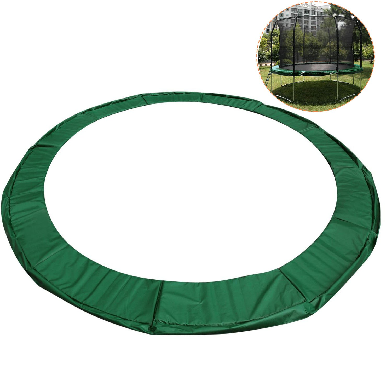 15FT Trampoline Safety Pad Round Frame Replacement Cover – Green by Cheesea
