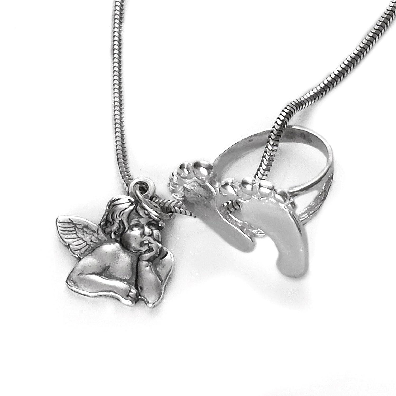 Baby und Kinder Schutzengel Anhänger mit Namen Gravur und Kette Echt Silber 925