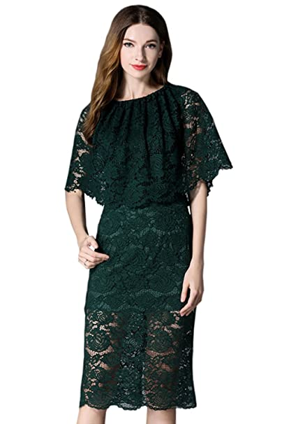 Zumeet Women Slim Fitted Pencil Lace Dress Dark Green at Amazon Women s  Clothing store  3dca5a5a6