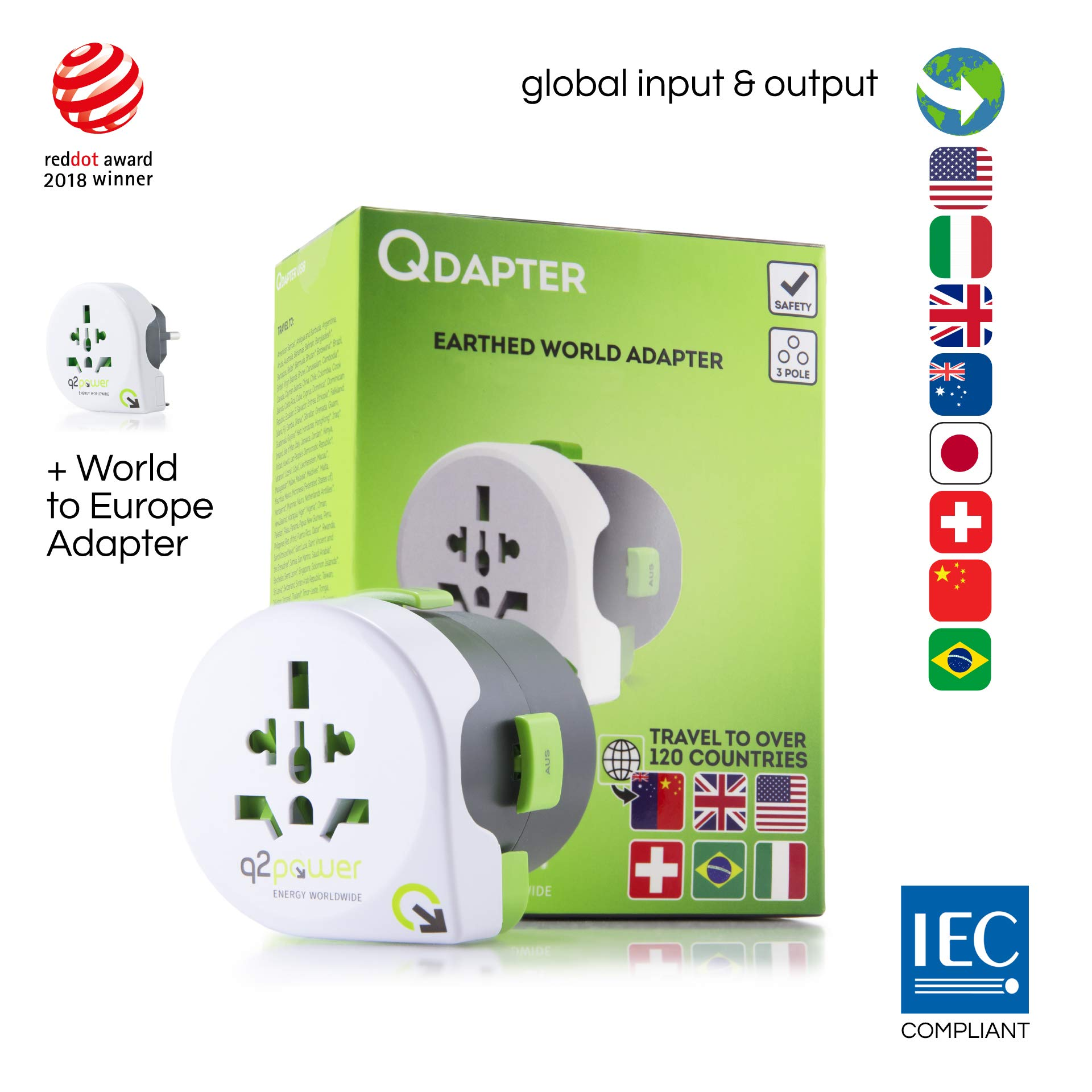 World Travel Adapter - Qdapter 360 by Q2Power | All-in-One International Travel Plug | Grounded & Safe