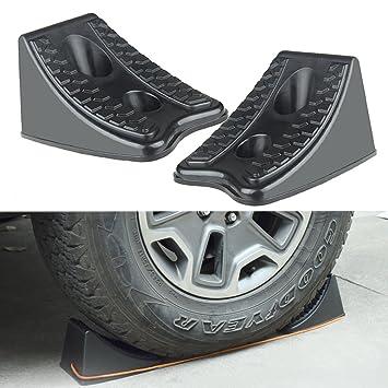 Roccs calces de rueda de coche 2pcs plástico resistente rueda Chock tapones para remolques caravanas vehículo ruedas tapón, par con cuerda: Amazon.es: Coche ...