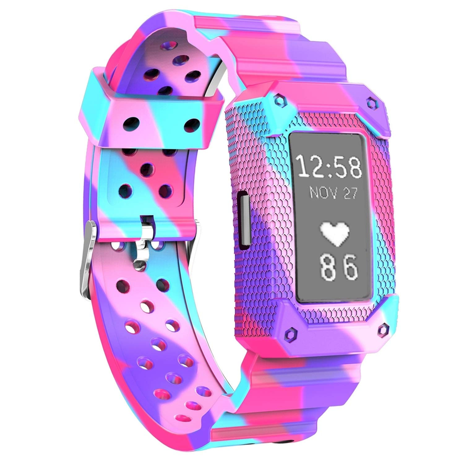 Moretek Watch Fitness Silicone Wristband Smart Replacement Band for Fitbit Charge 2 Tracker (Graffiti)