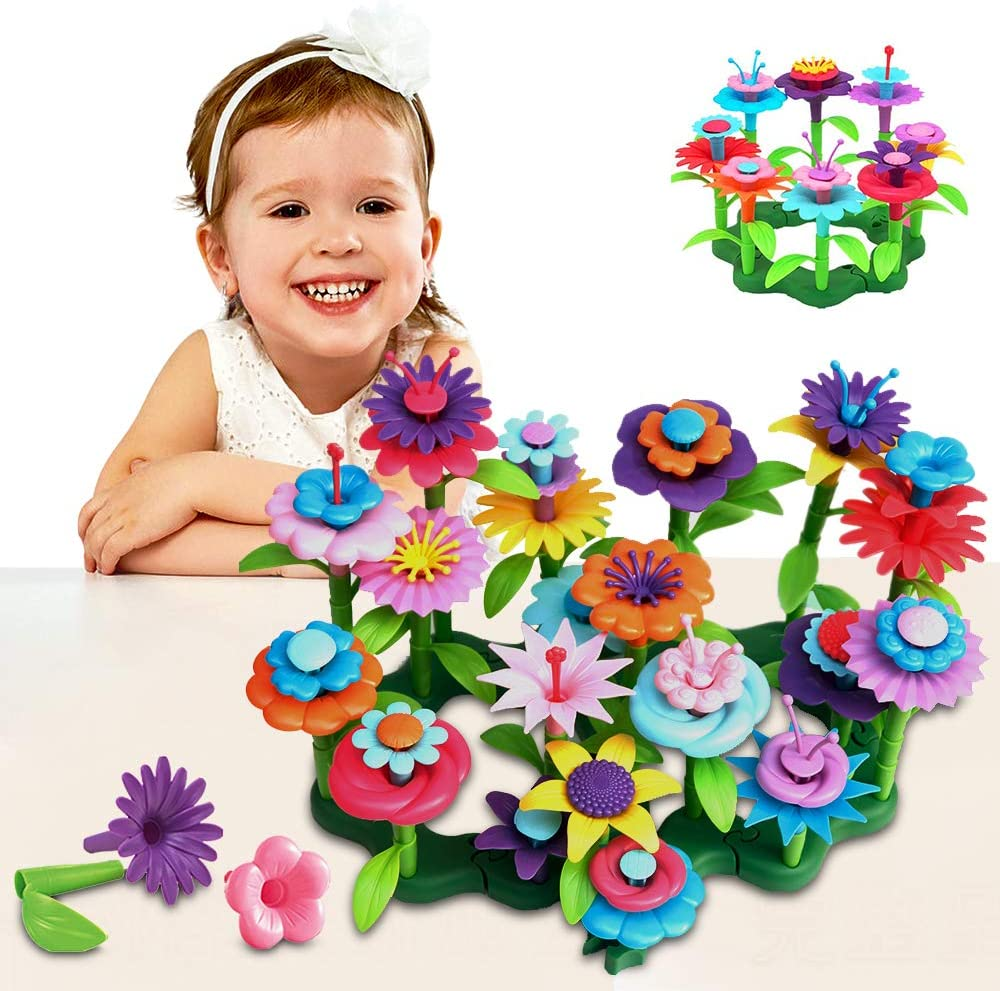 Acelane Flower Toys Garden Building Set 98 PCS Blocks Playset Gardening Tools Educational Creative Pretent Play Family Stacking Game STEM Toy Birthday for Girls Kids 3+ Years Old