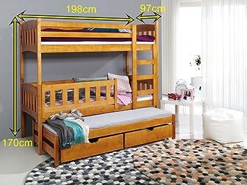 Etagenbett Schutzgitter : Bett anka etagenbetten kiefer für 3 personen l : amazon.de: küche