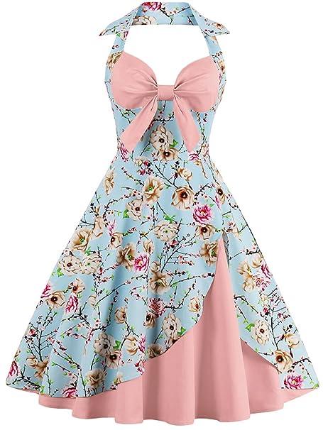 Babyonlinedress Vestido vintage y casual cuello de halter sin mangas falda plisada diseño de lazo por