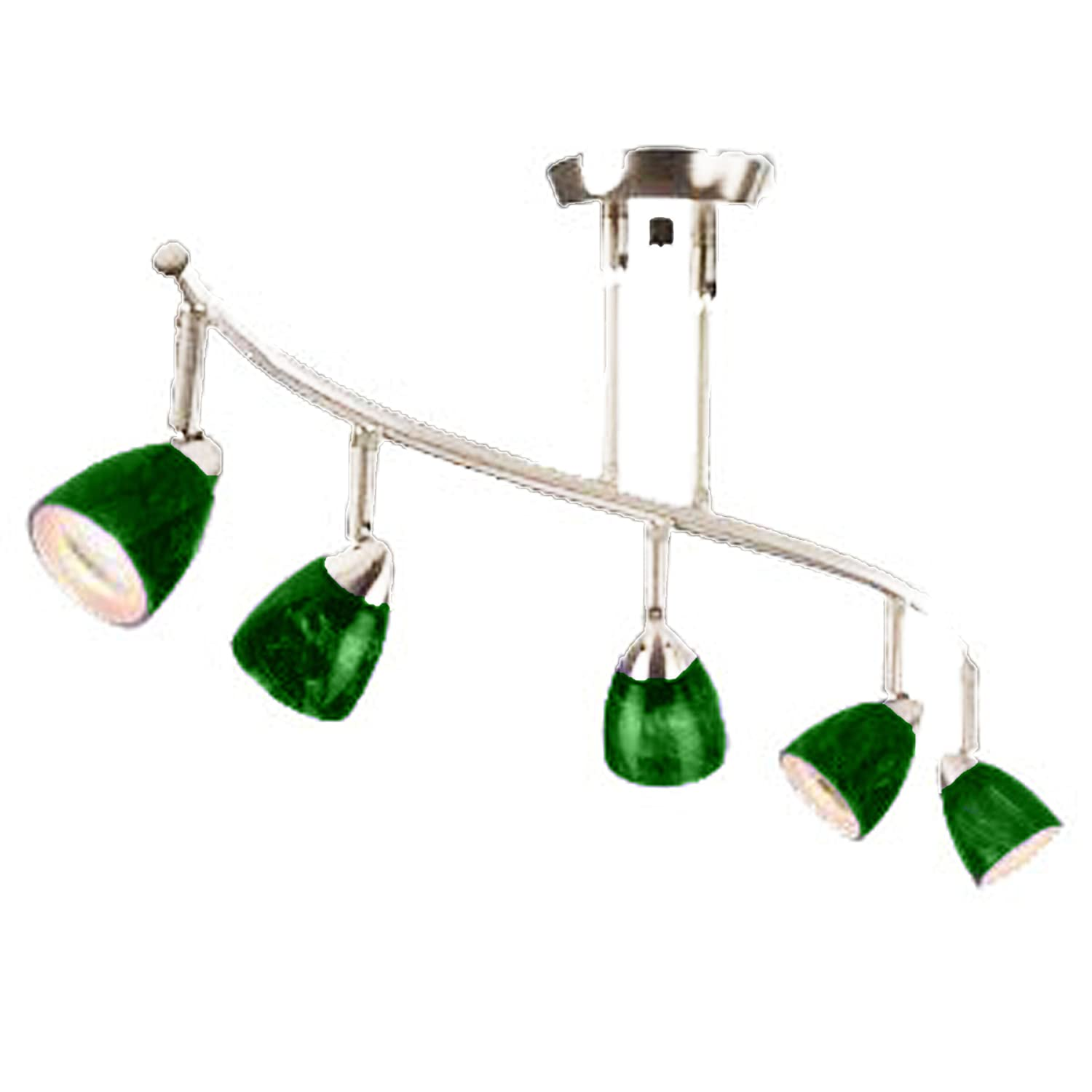 Cal Lighting SL-954-5-WH-GNF Track Lighting, Green Fire Glass & White B00D31WAI8