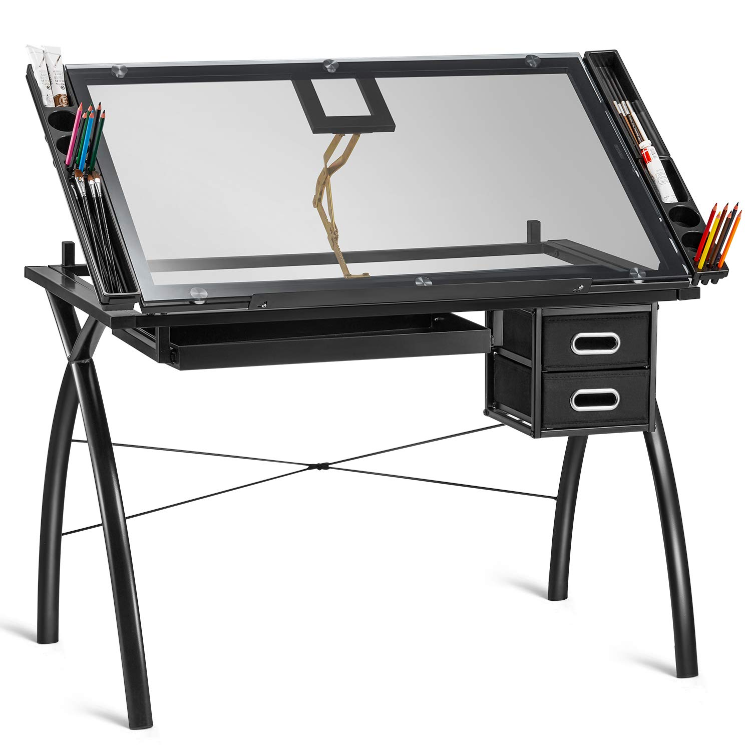 Kealive Height Adjustable Drafting Table, Tempered Glass Top Drawing Desk Hobby Table Writing Studio Desk Art Craft Station with Drawers, 43.3×28.3×31.5 inches by kealive