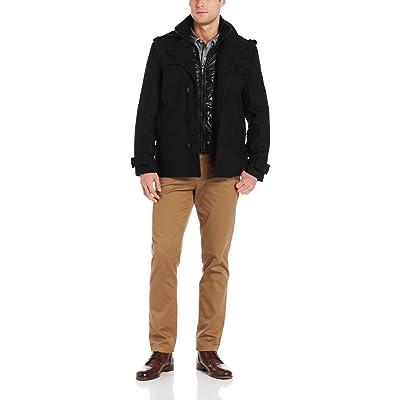 Emanuel Ungaro Emanuel Men's Wool Coat with Bib at Men's Clothing store: Wool Outerwear Coats