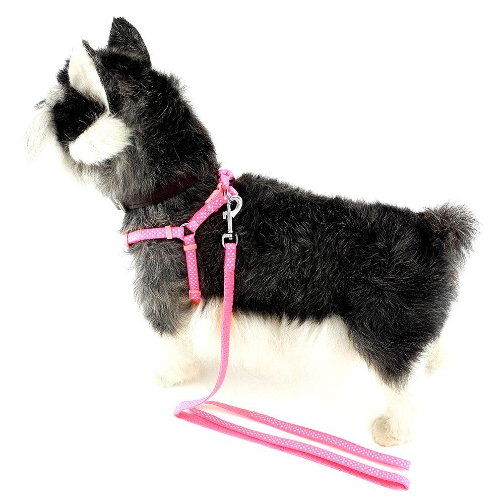 ZUNEA Nylon Pet Small Medium Dog Polka Dots Grip Harness Leash Set Adjustable Durable Step in Walking Training Leads 16''-24'' Pink