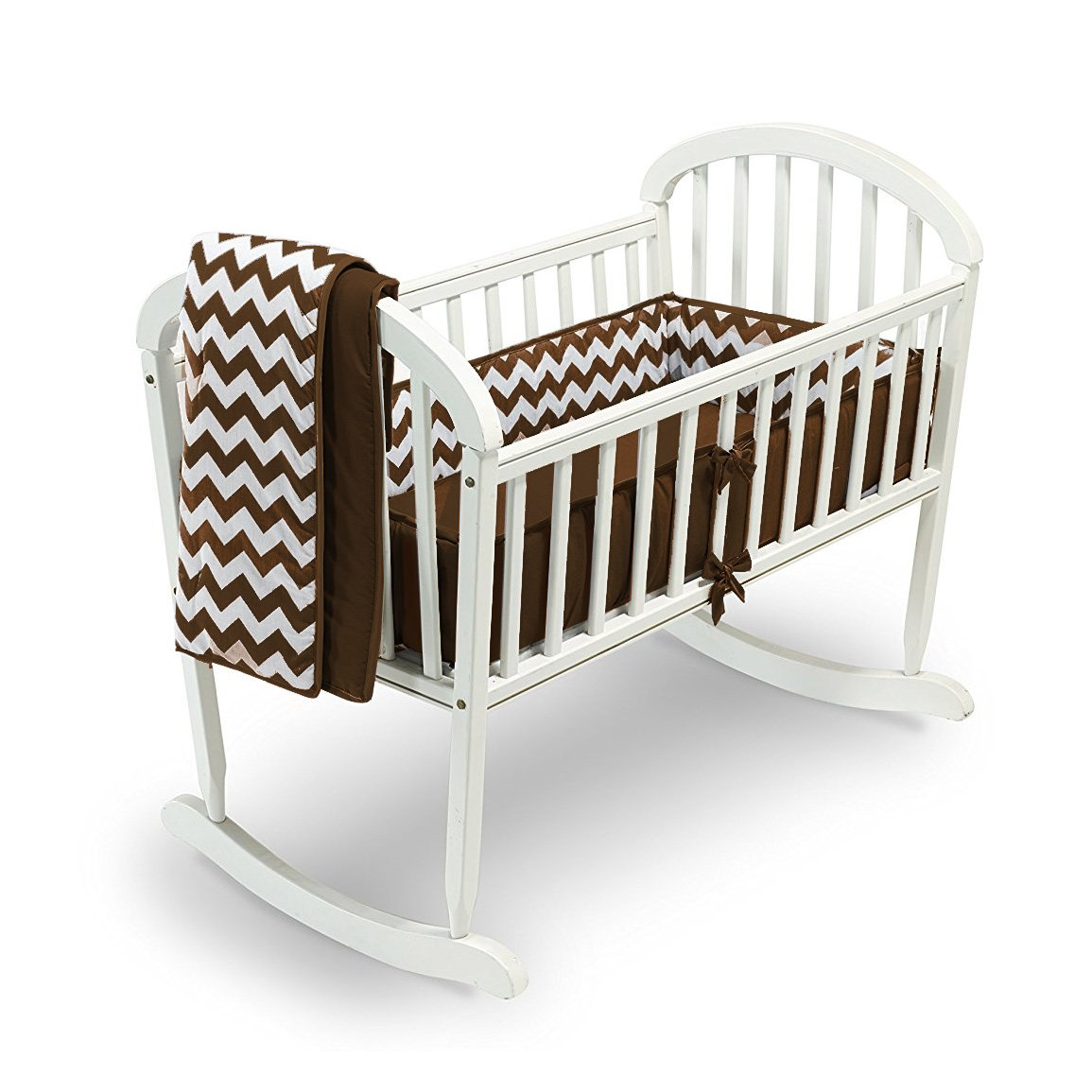 Chevron Cradle Bedding - Color: Grey, Size: 15x33 Baby Doll