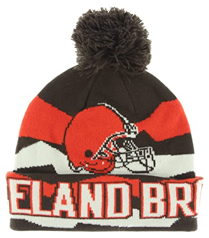 huge discount be16f 09e33 Youth NFL Flex Jacquard Cuffed Knit Hat w Pom (One Size, Cleveland Browns