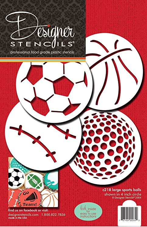 Amazon.com: Designer Stencils C218 Large Sports Ball Cookie Stencils (Basketball - Golf - Soccer - Baseball), Beige/semi-transparent: Food Decorating ...