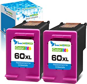 InkWorld Remanufactured Ink Cartridge Replacement for HP 60XL Twin Color Used for PhotoSmart C4700 C4795 C4600 D110a Envy 120 100 114 DeskJet F4235 F4580 F4400 F2430 F4440 F2480 D1620 D1630 Printer