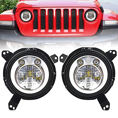 DDUOO Jeep JL Headlights, 60W White LED Halo Headlights with 9inch JL Headlight Adapter All-Directional Mounting Bracket for Jeep Wrangler JL JLU 2020 2020: Automotive