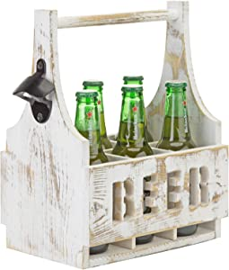 MyGift 6-Bottle Wood Beer Bottle Holder Server Portable Carrier Caddy with Carrying Handle & Shabby White Washed Finish