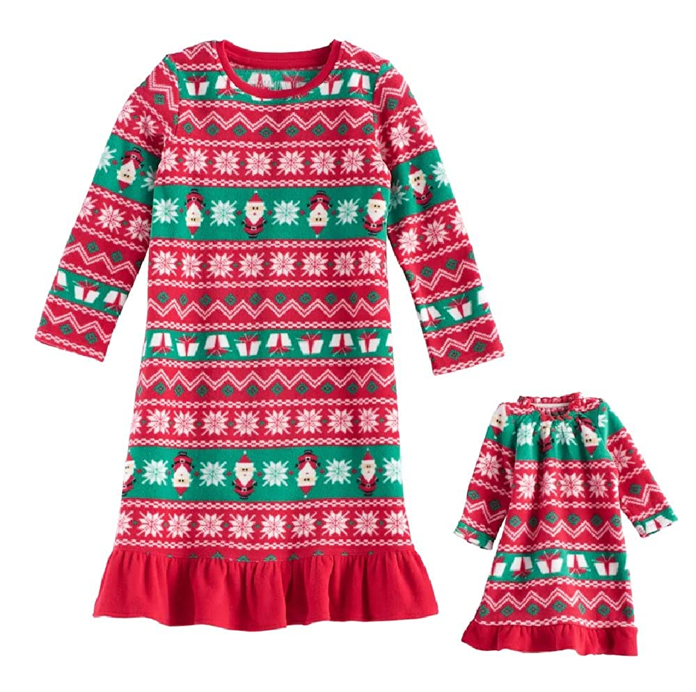 4T Fairisle Santa Jammies For Your Family Little Girls Holiday Fleece Nightgown with Matching 18 inch Doll Pajamas