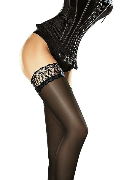 0758f8e4500f8 Fiore Women's Contessa Satin Gloss Opaque Thigh Highs at Amazon Women's  Clothing store: