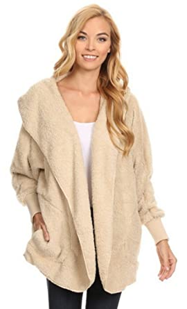 Fuzzy Faux Shearling Hooded Cardigan Jacket at Amazon Women's ...