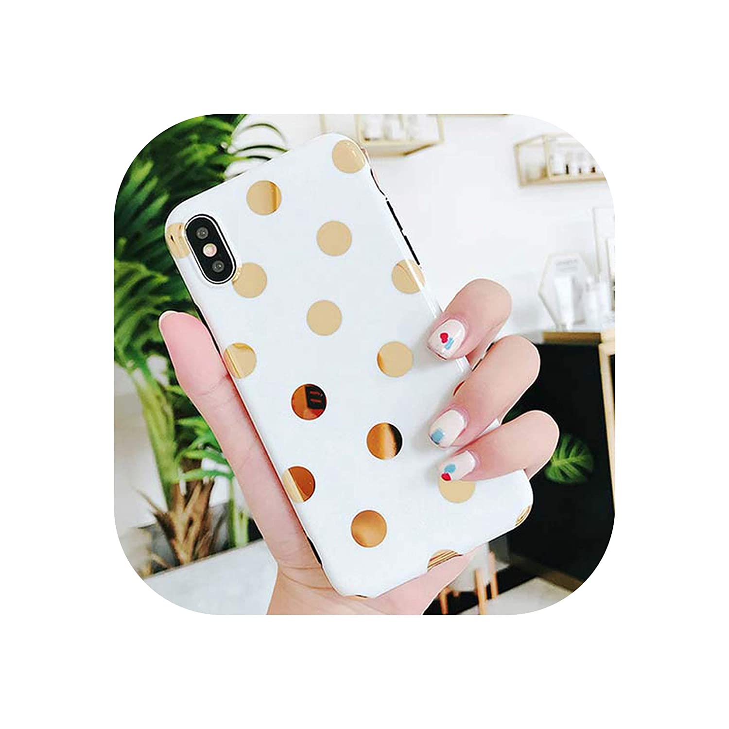 U-See Phone Case for iPhone 6 6S 7 8 Plus X XS Gold Plating Wave Point Soft Protective Phone Back Cover Cases Gift,for iPhone 8 Plus,White