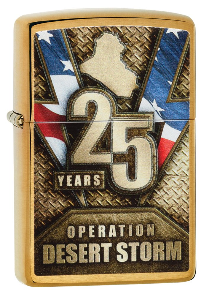 Zippo Operation Desert Storm Brushed Brass Pocket Lighter Zippo Manufacturing Company 29177