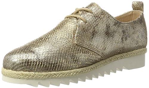 Caprice 23701, Zapatos de Cordones Oxford para Mujer, Blanco (White Metallic), 41 EU