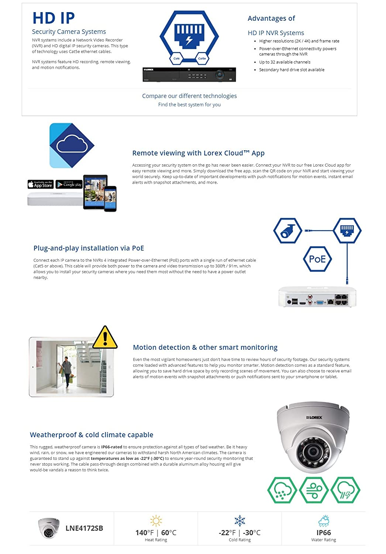 Amazon com : Lorex 4K Ultra HD IP NR810 Series NVR System with 2K