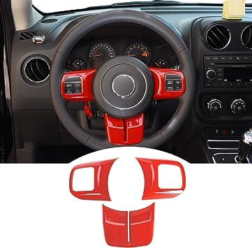 JeCar Interior Steering Wheel Decoration Trim Kits for 2011-2018 Jeep Wrangler JK//2011-2013 Grand Cherokee//2011-2016 Jeep Compass /& Patriot Pink