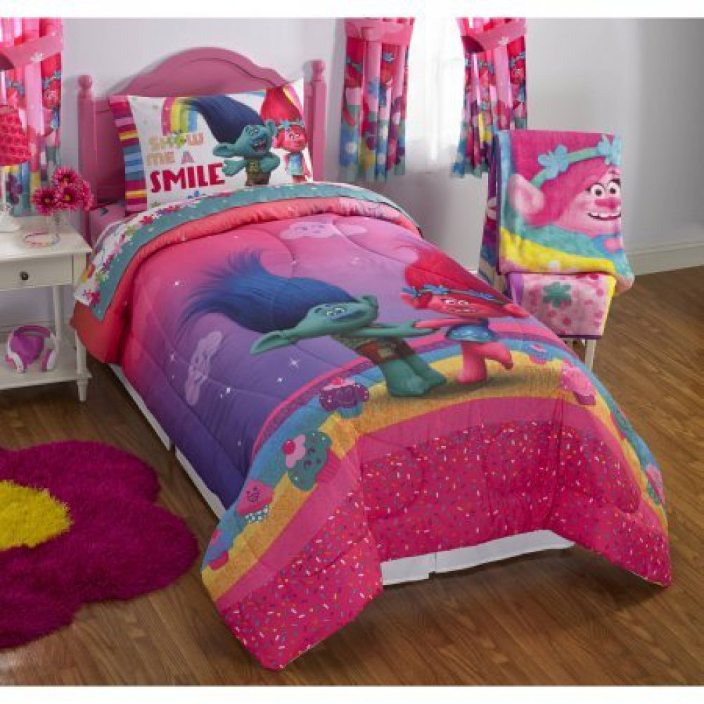 amazoncom dreamworks trolls show me a smile reversible twinfull bedding comforter features princess poppy dancing in a bed of flowers on one side and - Twin Bed Sheets