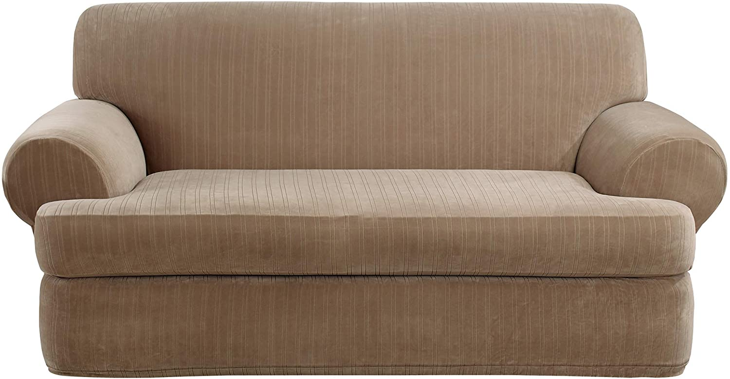Surefit Stretch Pinstripe T-Cushion Loveseat Two Piece Slipcover, Form Fit, Polyester/Spandex, Machine Washable, Taupe Color