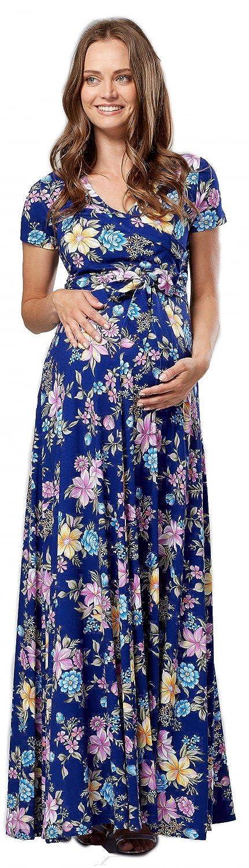 Happy Mama Femme Robe Maxi Maternité d'allaitement. Court Manches. 599p pregdress_599