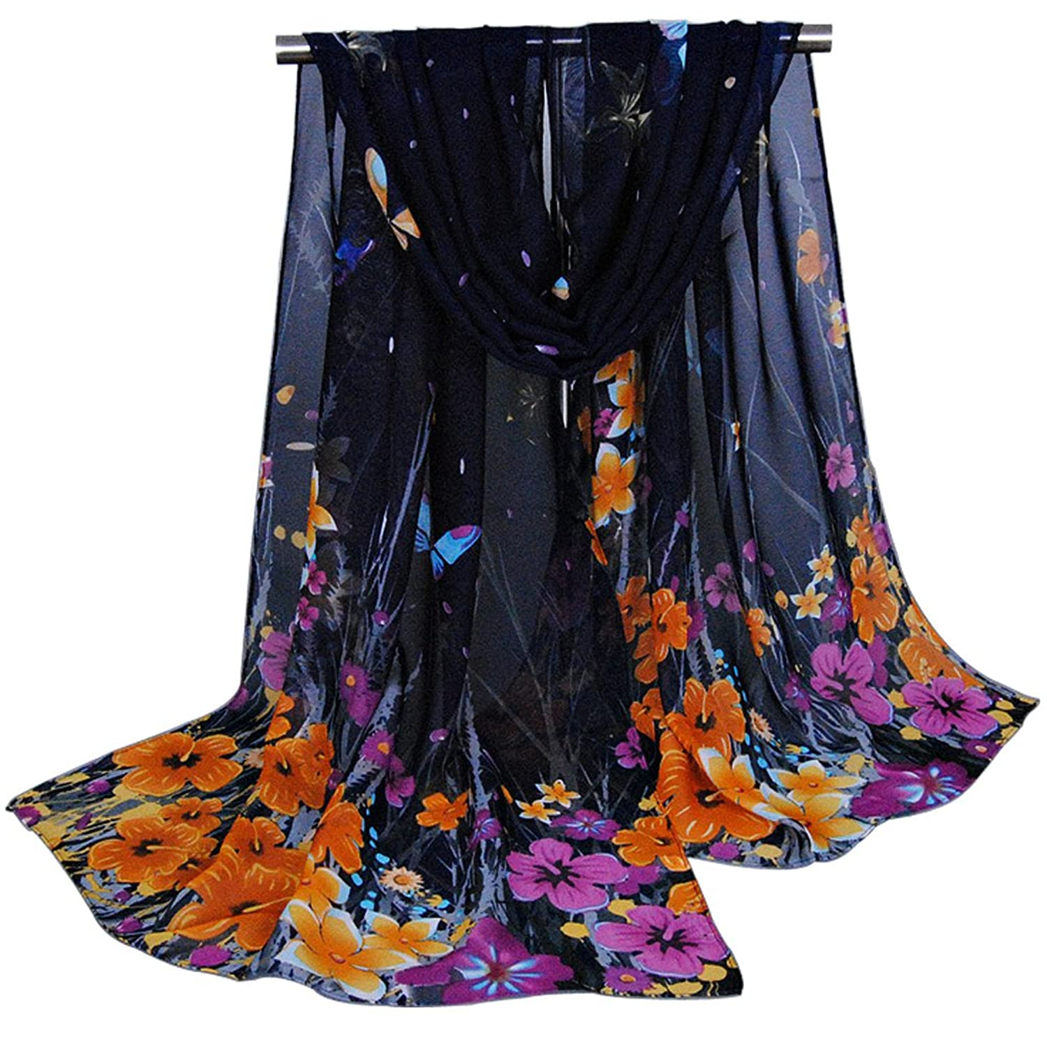 Alysee Women Adorable Floral/Butterfly Print Classy Chiffon Long Scarf Shawl Wrap