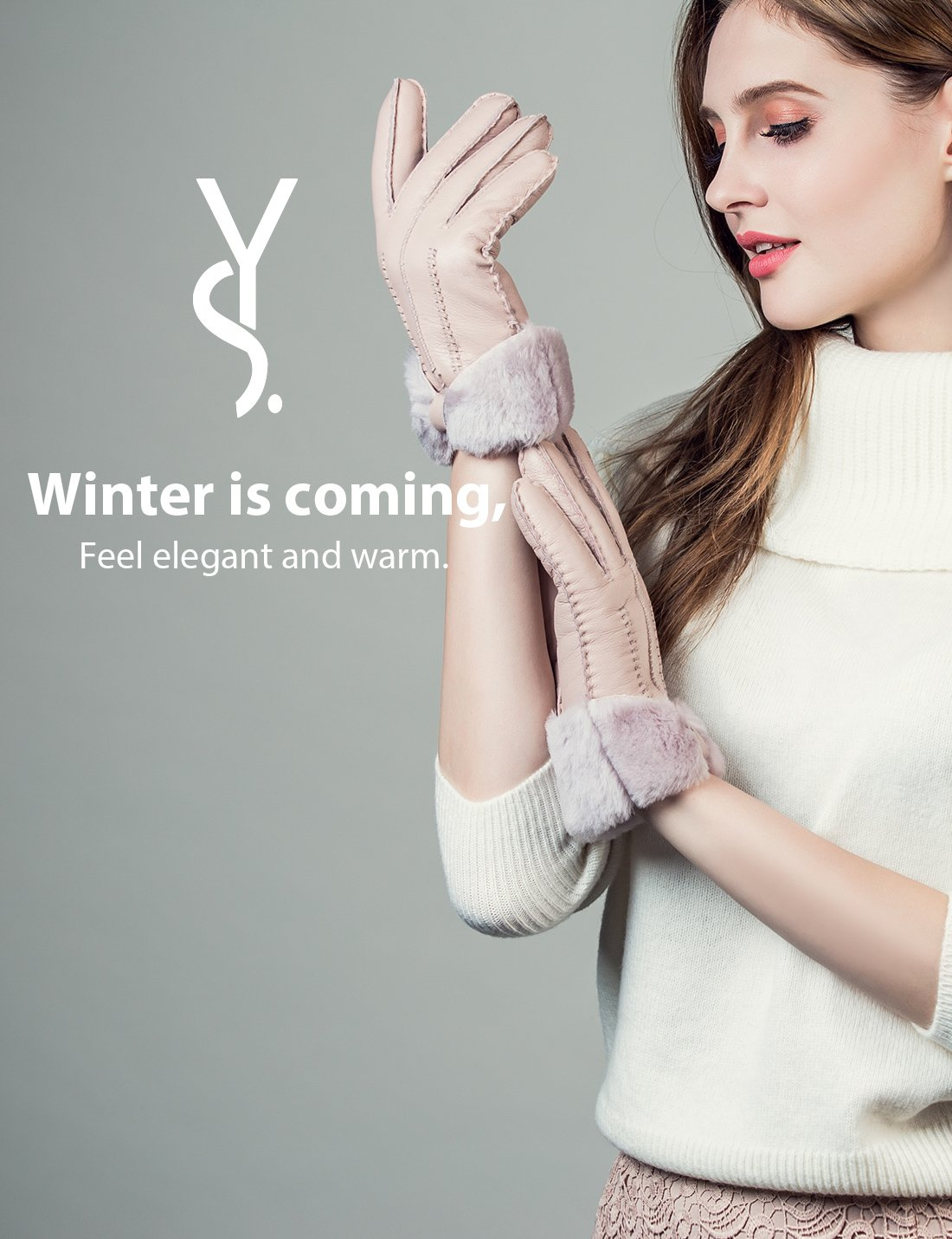 YISEVEN Women's Rugged Sheepskin Shearling Leather Gloves Three Points and Wing Cuffs Soft Thick Furry Fur Lined Warm Lining for Winter Cold Weather Heated Dress Driving Work Xmas Gifts, Pearl Pink S by YISEVEN (Image #6)