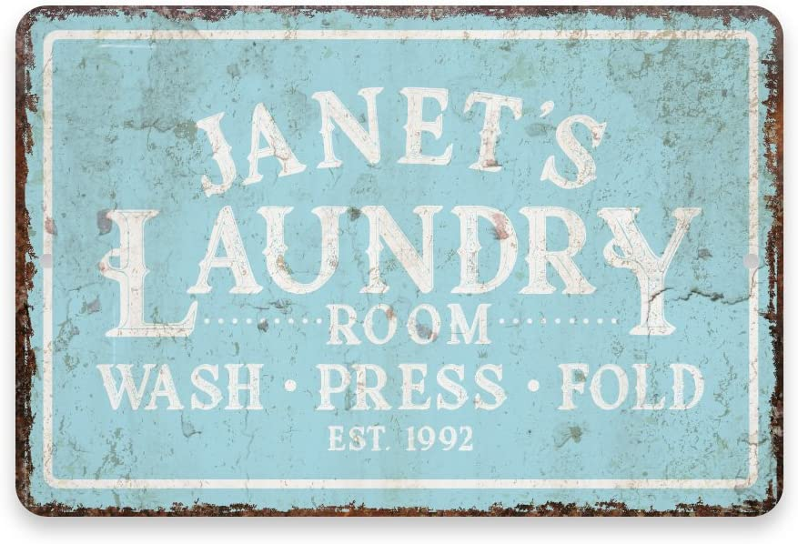 Pattern Pop Personalized Vintage Distressed Look Mint Laundry Wash Press Fold Metal Room Sign