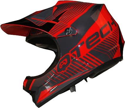 Casque de Moto pour Enfant Motocross Cross Off-Road BMX Cycle Noir Brillant ATV Quad Petit Bleu 53-54cm