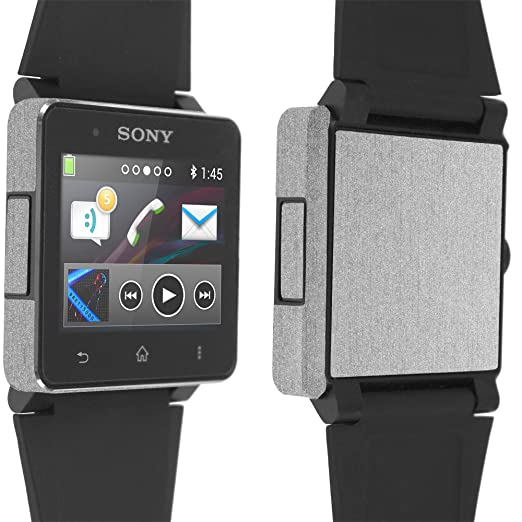 Sony Smartwatch 2 Screen Protector + Brushed Aluminum Full Body, Skinomi TechSkin Brushed Aluminum Skin for Sony Smartwatch 2 with Anti-Bubble Clear ...