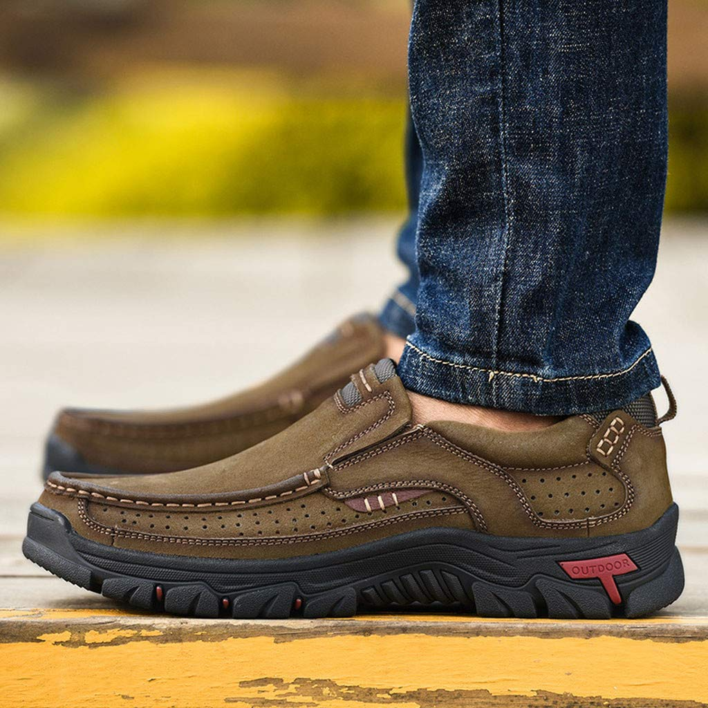 Mens Premium Leather Casual Breathable Hiking Shoes Comfortable Moccasins Hiking Walking Flat Shoes by Lowprofile