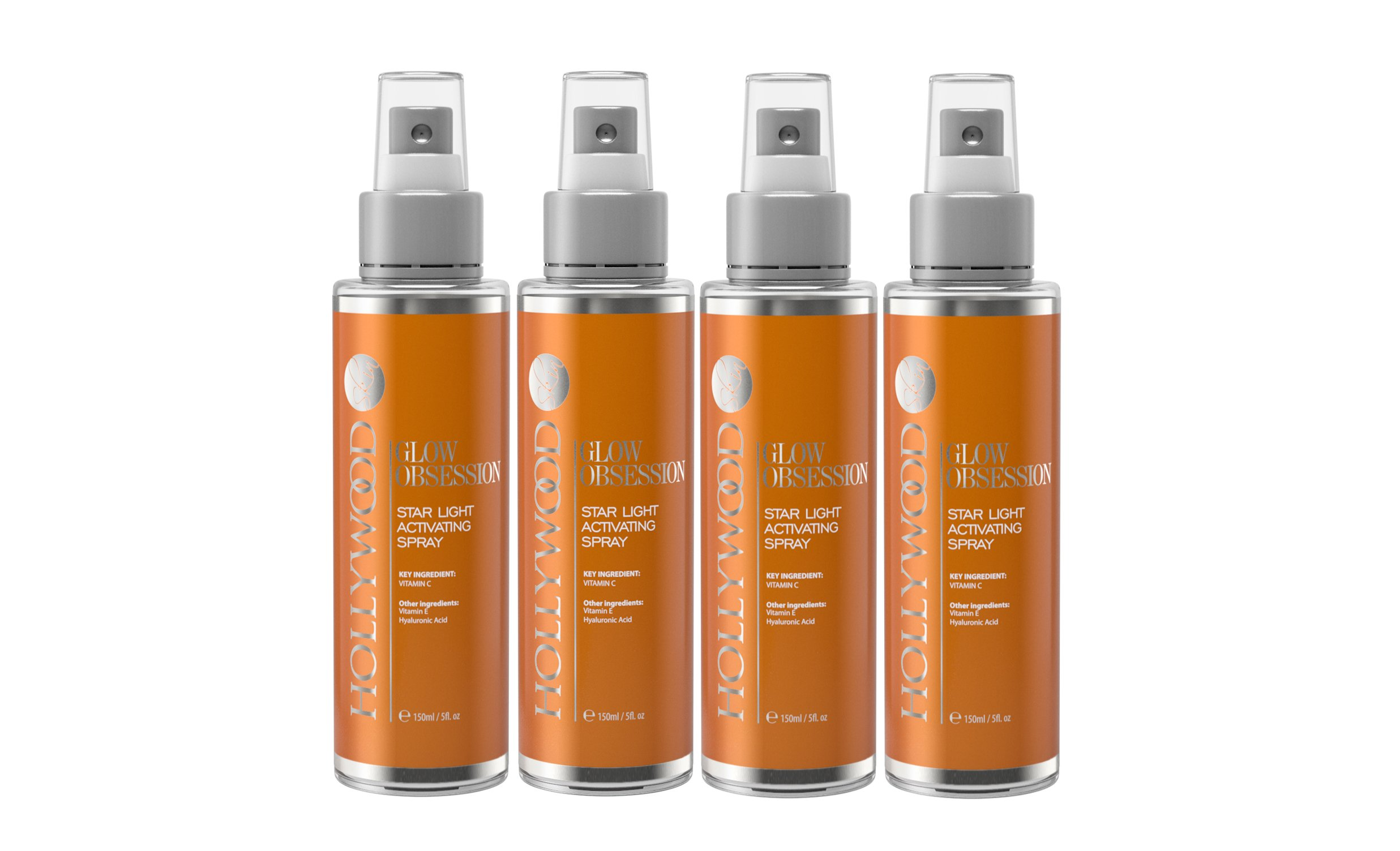 GLOW OBSESSION - 20% Vitamin C Facial Spray. Anti-aging and deeply moisturising. 4x STONGER than the competitors. With 10% Hyaluronic Acid, 1% Vitamin E + Witch Hazel. 150 ml (4 Bottles)