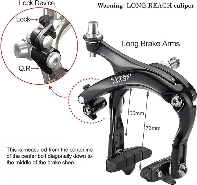 Road Bicycle Brake Caliper Tektro R559 Front Black 55-73 Reach
