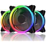 upHere RGB Series Case Fan, Wireless RGB LED 120mm Fan,Quiet Edition High Airflow Adjustable Color LED Case Fan for PC Cases-