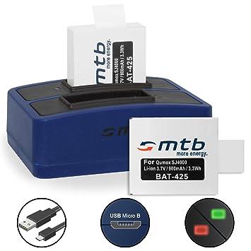 2 Baterías + Cargador doble (USB) para cámara deportiva Qumox SJ5000(+), SJ5000X, SJ4000(+) / SJCam M10(+), X1000... - contiene cable micro USB