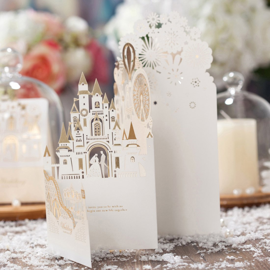 Wishmade 50pcs Laser Cut Wedding Invitations Cards kit With 3D Bride ...