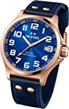 TW Steel Pilot Sunray Blue Dial Rose Gold PVD Steel Blue Leather Mens Watch TW404