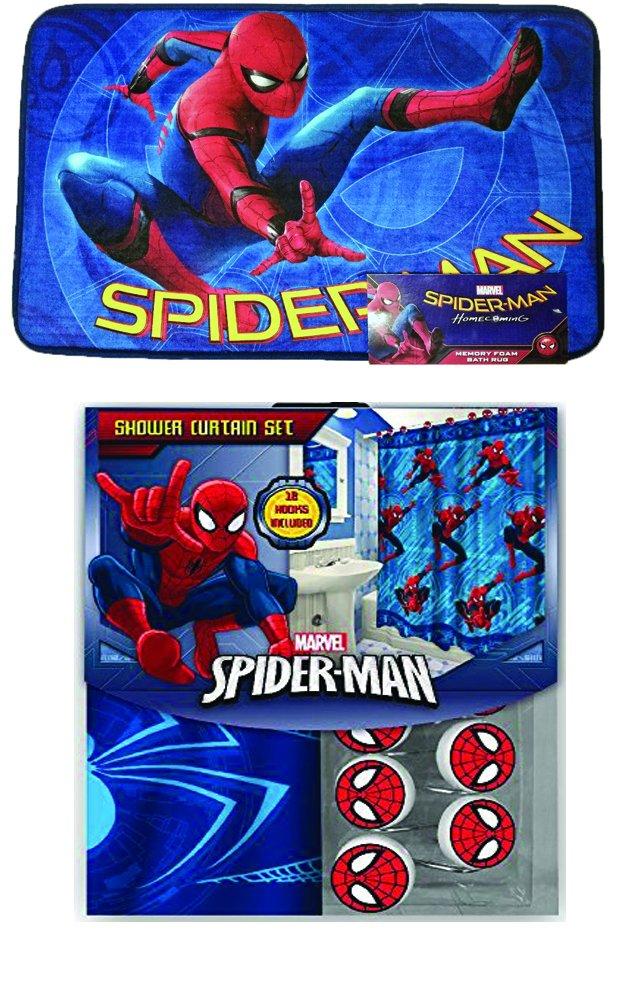 Disney Marvel New 13pcs Set (Shower Curtain with Hooks) OR 14pcs Set (Shower Curtain Set with Bath Memory Foam Mat) (Spider Man, 14pcs Set - Shower Curtain set & Memory Mat)