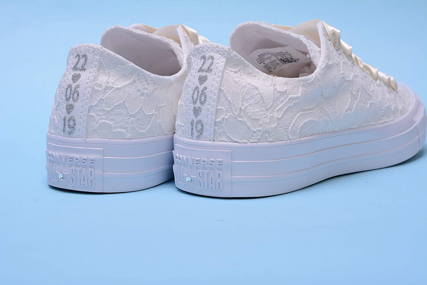 ff9ea357aee00 Amazon.com: Personalized Ivory Wedding Sneakers For Bride ...