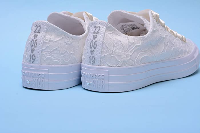 8e2855df9412 Amazon.com  Personalized Ivory Wedding Sneakers For Bride ...