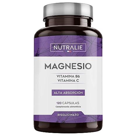 Magnesio con Vitaminas B6 y C | Bisglicinato de Magnesio 100% Biodisponible | 120 Cápsulas